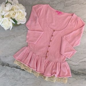 Betsy Johnson Pink Button Sweater with Lace